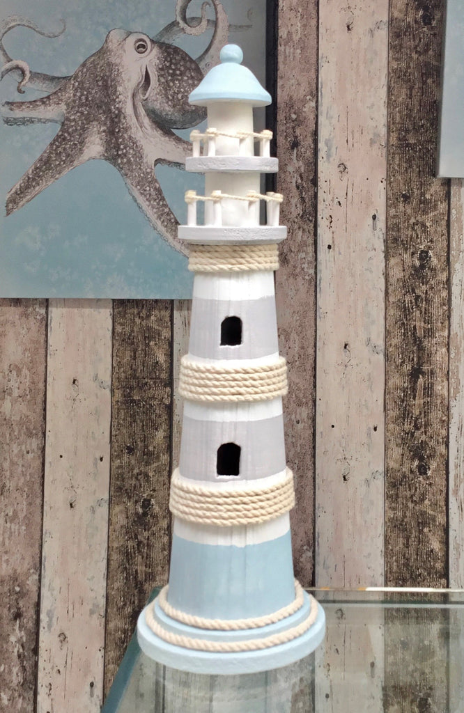 Blue Wash Wooden Lighthouse