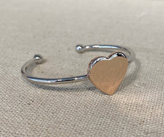 Sterling Silver Cuff Baby Bangle with Rose Gold Plated Heart G6579