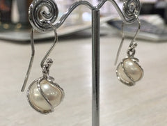 9ct White Gold White Fresh Water Pearl Encased Drop Earrings