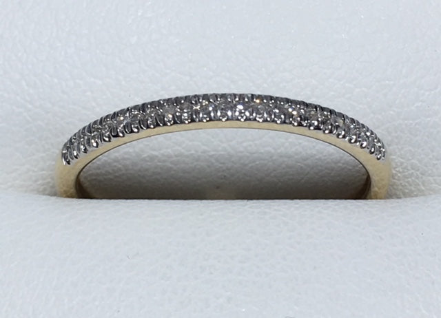 10Ct Yellow Gold T.D.W 0.10Ct Thin Straight Row Diamond Band
