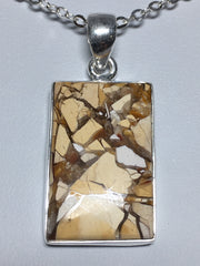 Sterling Silver Rectangle Bezel Set Brecciated Mookaite Pendant