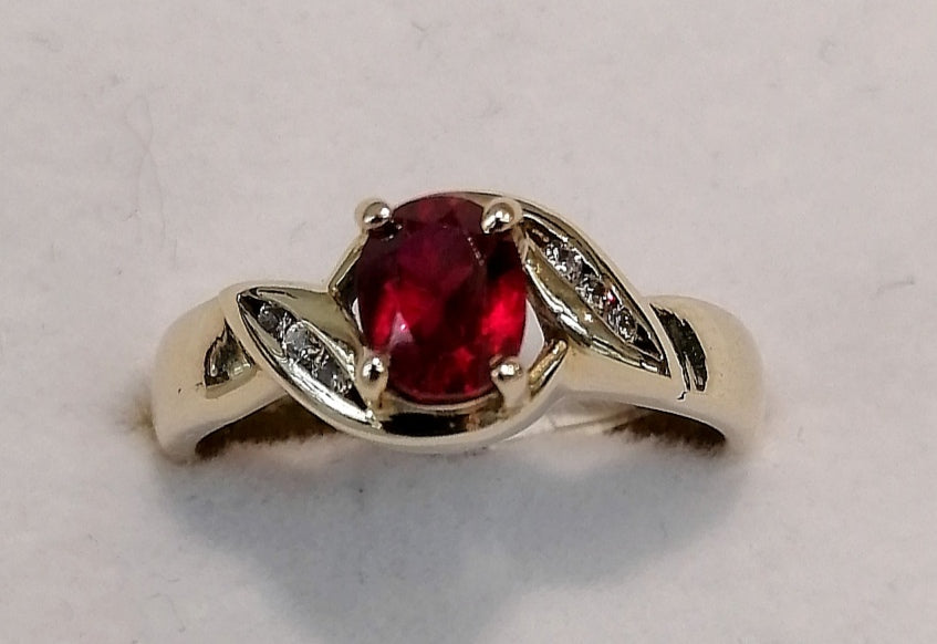 9ct Yellow Gold Oval Ruby Ring