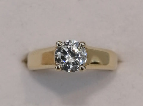 9ct yellow gold 4x claw round solitaire R1881