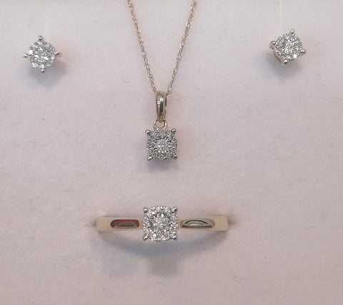 Petite 10ct Diamond Earings, Pendant and Ring Matching Set G5799