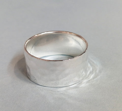 Wide Textured Sterling Silver Ring R2570