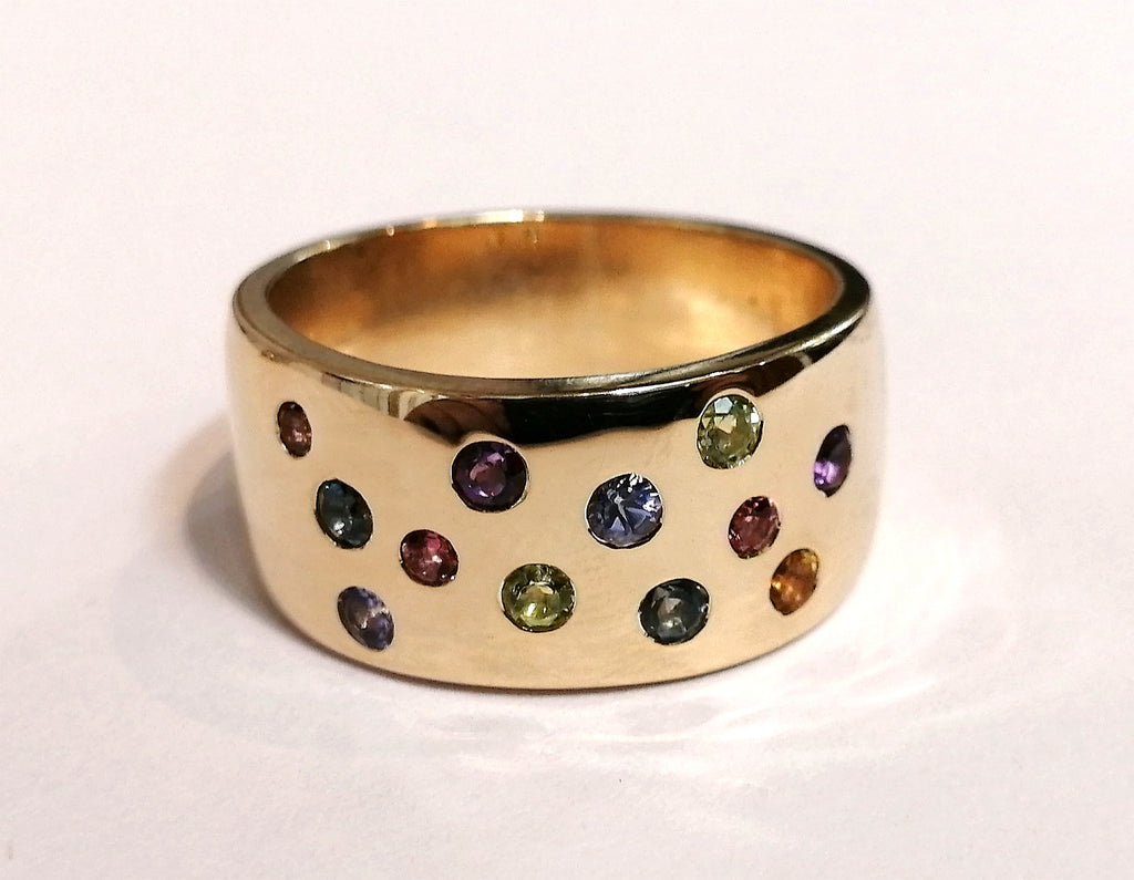 Handmade Wide Multi Colour Gemstone Ring R2645