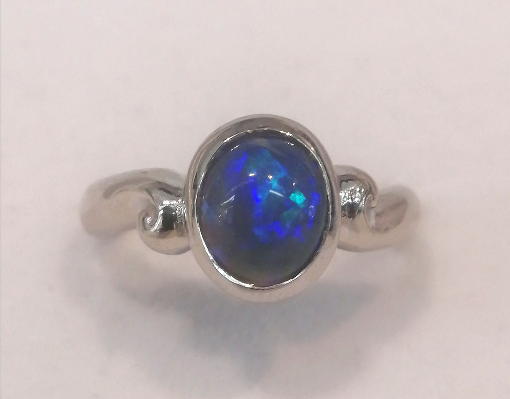 9ct White Gold Blue Lightning Opal Ring r2387