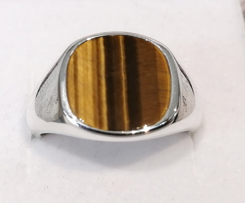 Sterling Silver 13mm Cushion Tiger Eye Gents Ring R2668