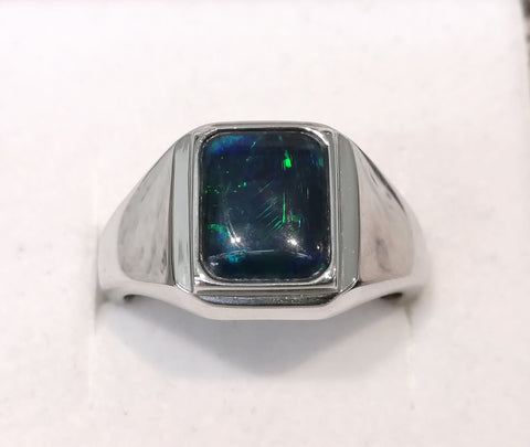 Sterling Silver 10x8mm Rectangle Triplet Opal Gents Ring R2672