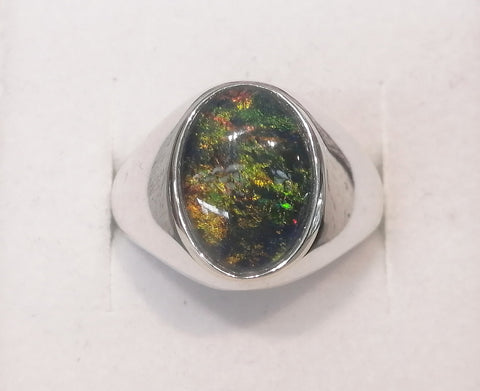 Sterling Silver 14x10mm Oval Triplet Opal Gents Ring R2677