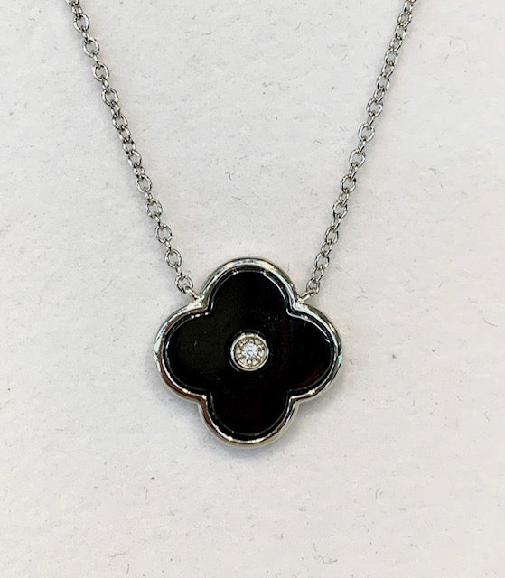 Sterling Silver Rhodium Plated Black Flower Shaped Pendant with Cubic Zirconia G5881