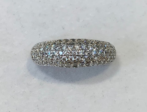 Sterling Silver 7 Row Thin Pave Cubic Zirconia Ring Size R1/2 R1285
