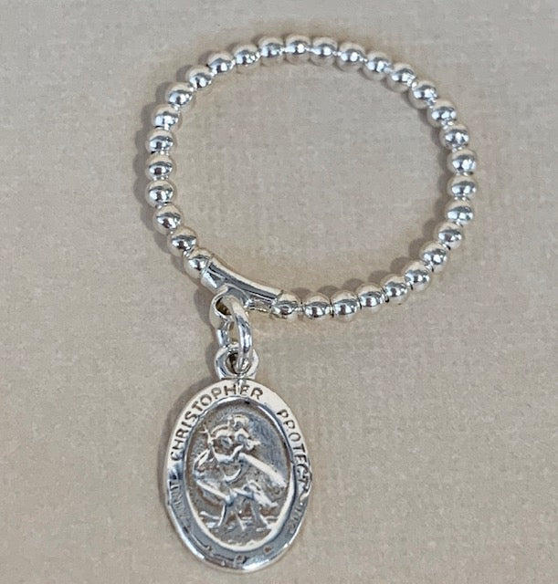 Sterling Silver Bendy Ring with Hanging St Christopher R2208