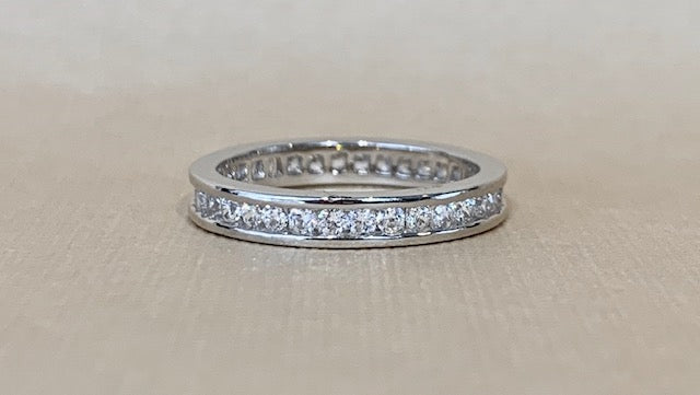 Sterling Silver Full Channel Set Cubic Zirconia Eternity Ring