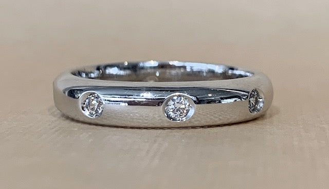 Sterling Silver Rhodium Plated 8x Cubic Zirconia Eternity Ring Size P-  R1214