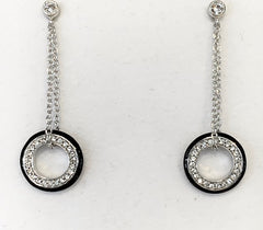 Sterling Silver Rhodium Plated Black Resin Circle Chain Earrings with Cubic Zirconia G5882