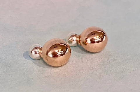 6mm Sterling Silver and 10mm Rose Gold Plated Double Ball Stud Earrings G4750