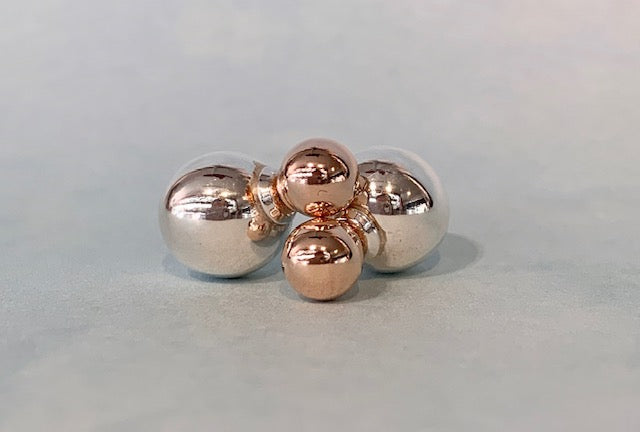 Sterling Silver and Rose Gold Plated Two Tone Double Ball Stud Earrings G4749