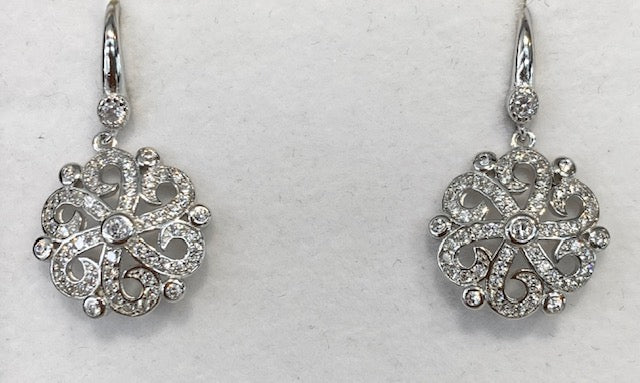 Sterling Sterling Rhodium Plated Cubic Zirconia Antique Earrings G5434
