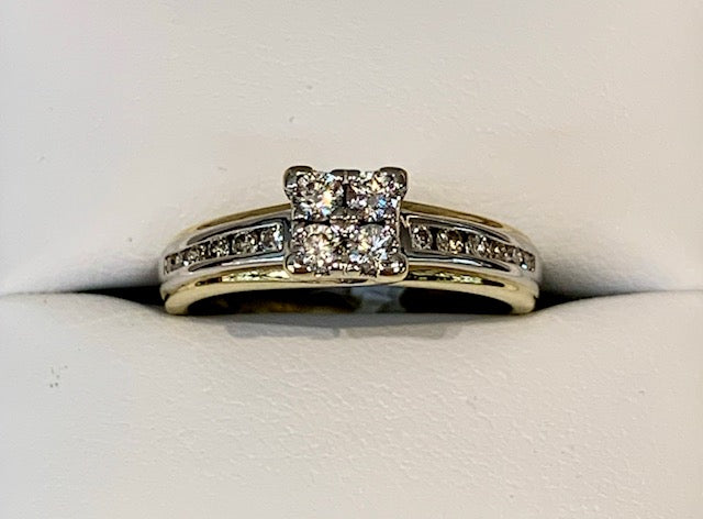 9ct Yellow Gold/White Gold Two Tone Illusion Set 16x Diamonds 0.50ct T.D.W Engagement Ring - size M - R2364