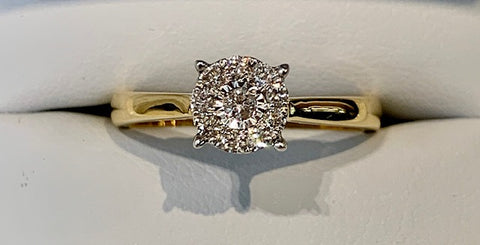 18ct Yellow Gold Ladies Engagement Ring with 0.15ct T.D.W in Solitaire Design - size M1/2 - R2054