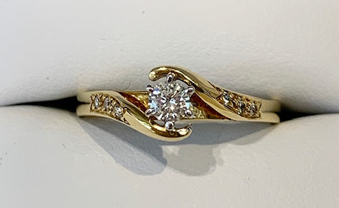 18ct Yellow Gold 0.15ct T.D.W Diamond Engagement Ring - size L1/2 - R1150