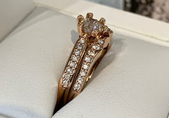 14ct Rose Gold Bridal Set 1x 0.50pt 16x 0.16pt Engagement Ring. 16x 0.20pt TDW Wedder - size M - R2366