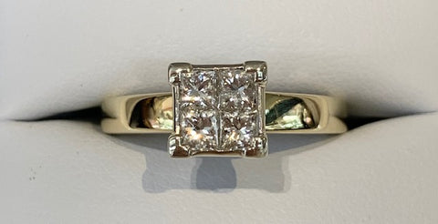 9ct Yellow Gold 4x 0.50ct TDW Princess Cut Diamond Engagement Ring - Size N1/2 - R2368