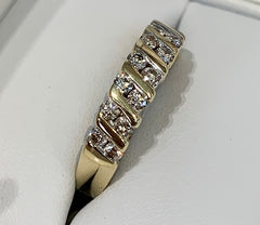 9ct Yellow Gold Bar set 14x Diamonds 0.50ct TDW Diamond Dress Ring - size N1/2 - R2361