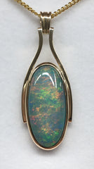 Handmade 9Ct Yellow Gold Solid 8.6Ct Opal Pendant