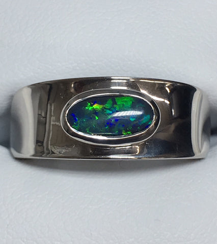 STERLING SILVER UNISEX SOLID 1.1CT OPAL CONCAVE RING
