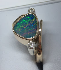 HANDMADE 9CT YELLOW GOLD OPAL DOUBLET AND DIAMOND RING