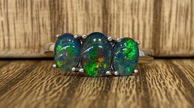 Sterling Silver Trio 1x 8x6mm and 2x 7x5mm Triplet Opal Claw Set Ring - size P - R2274