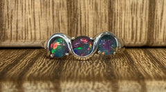 Sterling Silver 3x 5mm Round Triplet Opals in a Wave Design Ring  - size N - R2338