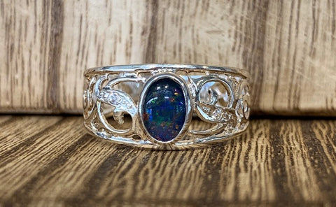 6x4mm Triplet Opal Bezel set Filigree Ring with 2x Cubic Zirconia bead set into Filigree - size N - G6116