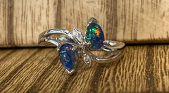 Sterling Silver 2x 6x4mm Pear Triplet Opals and Cubic Zirconia Ring - size N - R2337