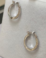 9Ct White Gold Small Round Squared Edge Plain Hoop Earrings