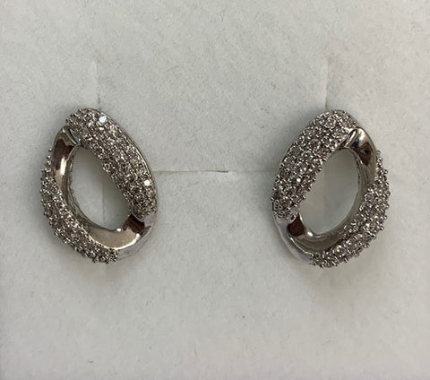9Ct White Gold Link Design Pave Set Diamond Earrings