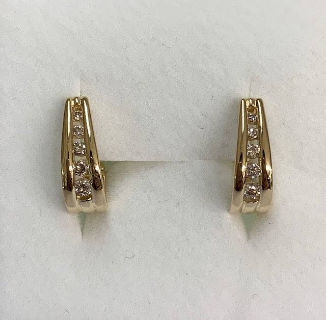 9Ct Yellow Gold Graduated Channel Set Diamond Oval Huggie Earrings 0.25Ct Tdw