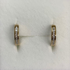 9Ct Yellow Gold Ladies Diamond Set Huggie Earrings 0.15Ct Tdw