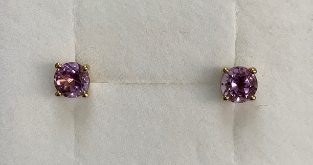 9Ct Yellow Gold Round 4 Claw Set Amethyst Stud Earrings