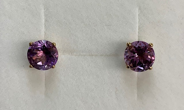 9Ct Yellow Gold 7Mm Round Amethyst Claw Set Stud Earrings