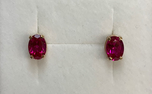 9Ct Yellow Gold Created Ruby Oval 4 Claw Set Stud Earrings