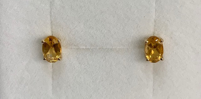 9Ct Yellow Gold Oval Claw Set Citrine Stud Earrings