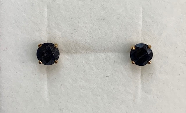 9Ct Yellow Gold Round Claw Set Black Sapphire Stud Earrings