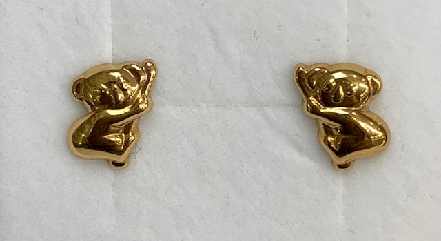 9CT Yellow Gold Small Koala Stud Earrings