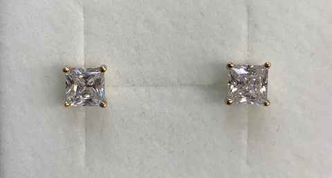 9CT Yellow Gold 5Mm Square Claw Set Cubic Zirconia Stud Earrings