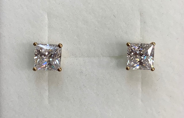 9CT Yellow Gold 6Mm Square Claw Set Cubic Zirconia Stud Earrings