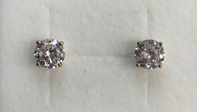 9CT Yellow Gold 6Mm Round Claw Set Cubic Zirconia Stud Earrings