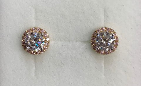 9CT Yellow Gold Round Claw Set Cubic Zirconia With Pink Cubic Zirconia Halo Stud Earrings